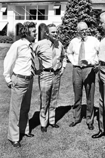 Mind games: Bob Hawke, Bill Hayden, Jim McClelland and Gough Whitlam in 1975.