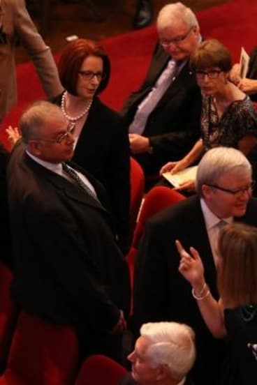 Julia Gillard and Kevin Rudd at the state memorial for Gough Whitlam at the Sydney Town Hall on Wednesday.