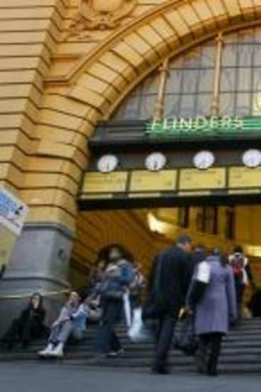 The steps at Flinders Street Station.