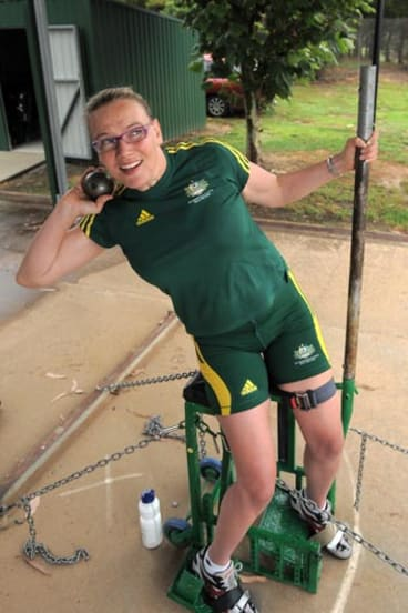 Shot put champion Louise Ellery is one of Canberra's Paralympic medal hopes.