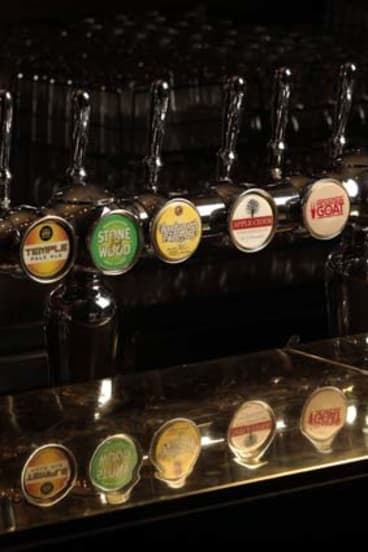 Australian craft beer taps.