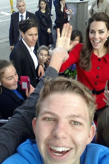 While selfies are not encouraged or allowed on the royal tour, one schoolboy in New Zealand broke protocol and tried his luck posing with the duchess.
