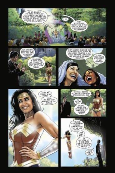 Australian Jason Badower's Wonder Woman cartoon strip in which she marries a lesbian couple.