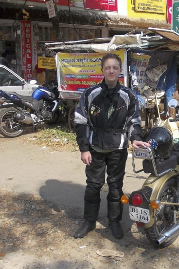 Hold on tight: Oskar Crick, Robert's grandson, during a recent trip in southern India.