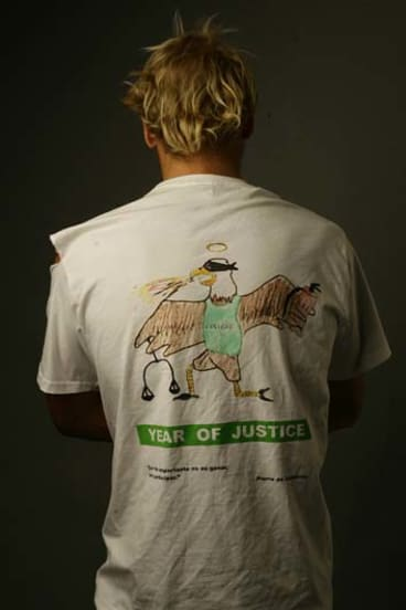 Year of Justice shirt sported by the so-called 'Justice Group' of students at St John's College.