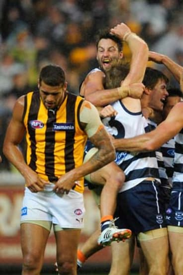On a roll ... Geelong celebrate after scraping past Hawthorn. The victory extended their winning streak over the Hawks to eight matches.