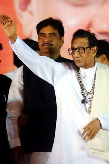 Leader of India's Shiv Sena (SS) Party Bal Thackeray, right.