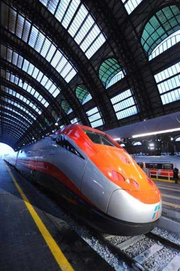 The Freccia Rossa high speed train in Italy.