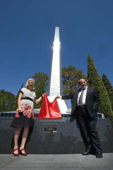 Chief Minister Katy Gallagher and Canberra City Heart Business Association and CBD Ltd chairman Emmanuel Nataras.