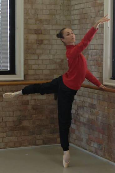 Bolshoi principal ballerina Ekaterina Shipulina at the bar.