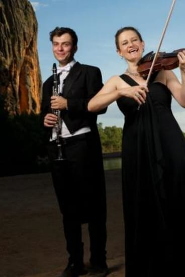 Making music: Kirsten Williams, associate concertmaster and Alexei Dupressoir, from the Sydney Symphony Orchestra  in Windjana Gorge.