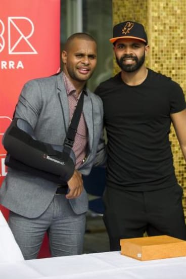 Patty Mills with his cousin, Bangarra dancer, Luke Curry-Richardson.