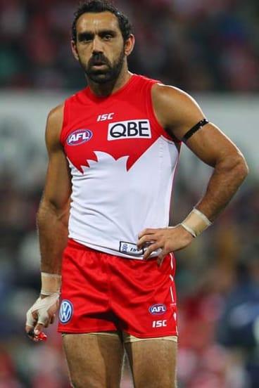 Unhappy: Swan Adam Goodes last Friday.