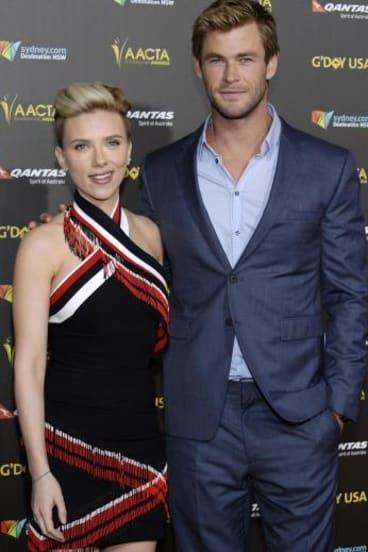 Scarlett Johansson and Chris Hemsworth at the 2015 G'Day USA Los Angeles Gala.