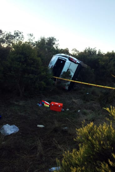The Adelaide Adrenaline ice hockey team's bus after rolling over between Gouburn and Eaglehawk on Saturday.
