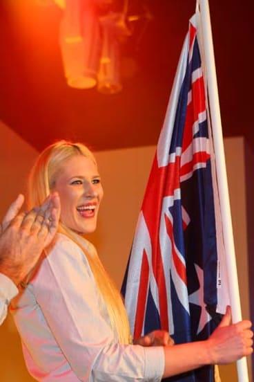 Australia's flag bearer ... Lauren Jackson.