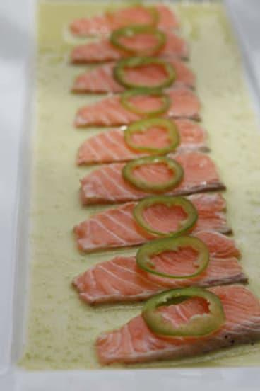 Salmon with jalapeno.