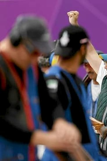 Australia's Michael Diamond celebrates after equalling the world record in his men's trap shooting qualification round at the London 2012 Olympic Games.