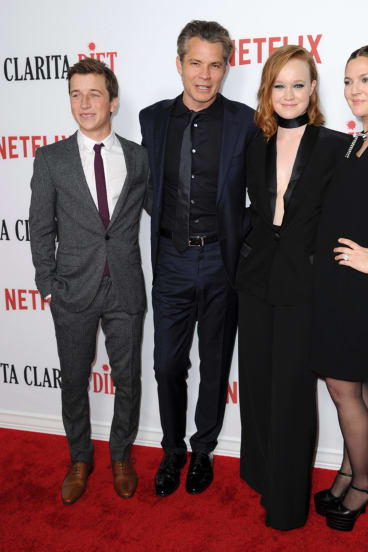 """Skyler Gisondo, from left, Timothy Olyphant, Liv Hewson and Drew Barrymore arrive at the Los Angeles premiere of """"Santa Clarita Diet""""."""