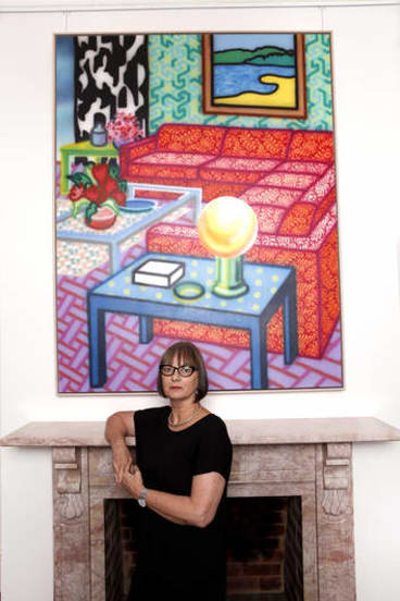 """""""You do have a certain responsibility"""" … Alison Burton in front of her late husband's 1992 work, """"Deluxe Setting""""."""