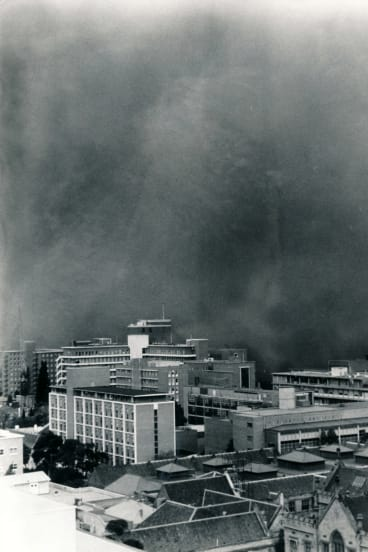 An aerial view of the dust storm hitting Melbourne.