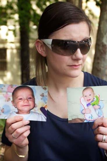 Heartbreak ... Sandra Bernobic with photos of her son, Elijah Slavkovic.