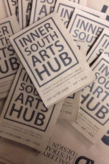 Brochures promoting the Inner South Arts Hub locations.