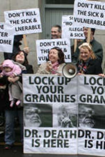 Just say no … anti-Nitschke protestors in Ireland in 2011.