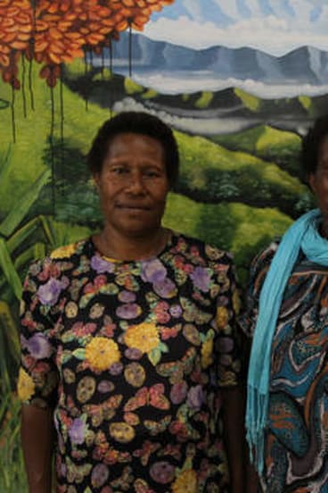 Give peace a chance … founding member of Kup Women for Peace, Mary Kini (at left), with Monica Paulus.
