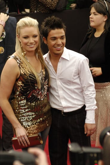 Hayley Jensen, with Anthony Callea, attending the 2004 Aria Awards.