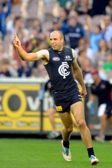 Blue for life: Carlton's former captain Chris Judd has taken a huge cut on his $1 million a year.