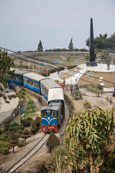 Out of town on a rail … the Toy Train, which takes tourists between Darjeeling and Ghum.