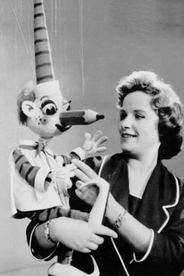 Making eyes ... Pat Lovell with Mr Squiggle in 1962, while Norman Hetherington pulled the strings.