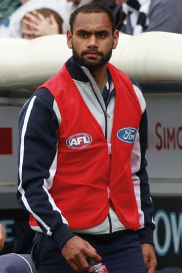In his first senior game for the season, Cats midfielder Travis Varcoe was subbed out of the game.
