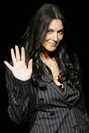 Model of Italian style ... Monica Bellucci on the catwalk for Dolce and Gabbana last year.