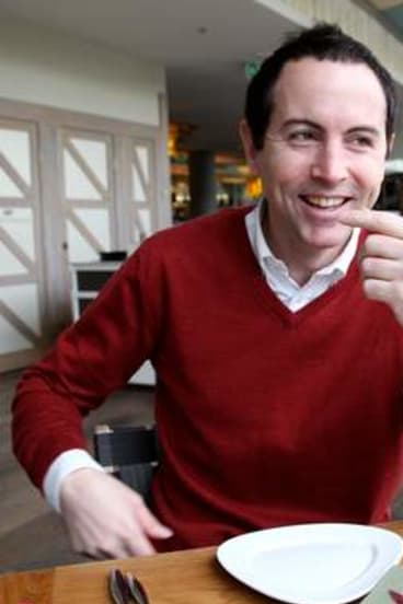 Candid moment ... Adam Boland at lunch in the Osteria Balla in The Star, Sydney.