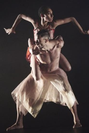 Yolanda Lowatta and Leonard Mickelo dance in <i>I.B.I.S</i>, which taps into the percussive nature of traditional Torres Strait music.
