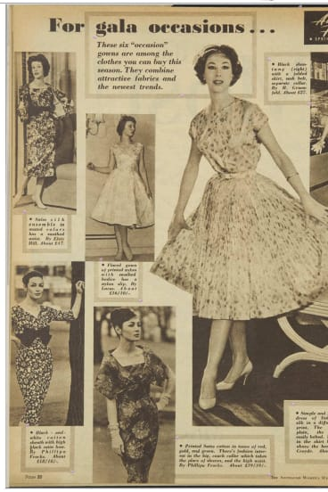 A page from <i>The Australian Women's Weekly</i>, September 2, 1959, includes an Elvie Hill design (top left). Tom McEvoy is using clippings such as this to chart the history of the fashions he is collecting.
