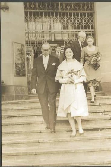 Wedding belle: Myfanwy marries Donald Horne in 1960.