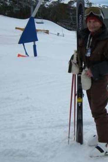 Sasha Nekvapil at 89 years, about to make first tracks on Thredbo's Merits ski run.