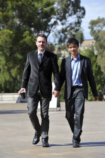 Ivan Hinton and Chris Teoh arriving at the High Court on Tuesday.