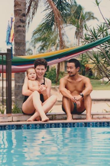 Cory Taylor with husband Shin Koyama and baby Nat