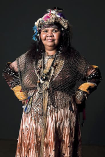 """Ruby Hunter ...  she said her headdress represented """"yesteryear, yesterday and today."""" This image of Hunter has been approved for publication by her family."""