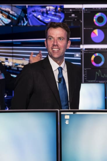 Dan Tehan, Minister for Cyber Security (left) with Telstra chief executive officer, Andrew Penn.