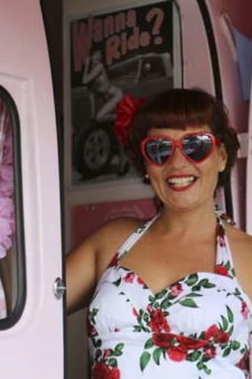 "Lisa Mora of Maleny and caravan ""Betty""."