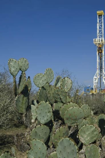 A drilling rig in Petrohawk's Eagle Ford shale deposit in south Texas.
