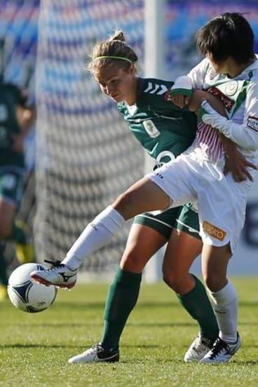 Canberra United's Georgia Yeoman-Dale pressures Maya Doko of Japan's NTV Beleza.