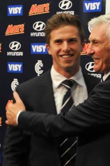 All smiles: Carlton coach Mick Malthouse and captain Marc Murphy.