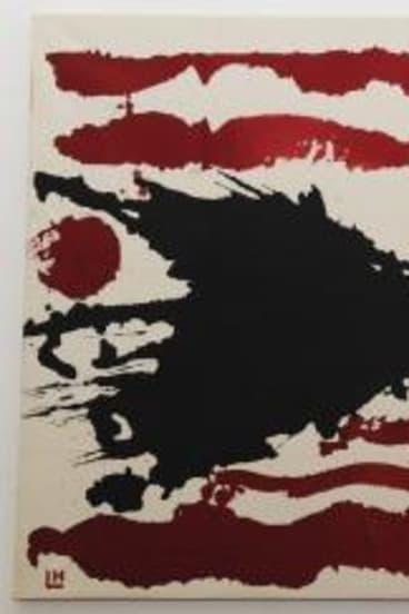 <i>Red Horizontal Lines and One Black Splash</i>