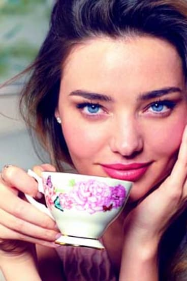 Shall we have tea? Miranda Kerr, the face of Royal Doulton's Royal Albert crockery range.